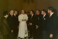 Pope John Paul II meets Project Economic Justice Delegation, which is joined by representatives of the Polish Solidarity Union.