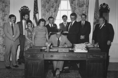 Delaware Governor Pierre S. (Pete) duPont IV signs into law a bill making broadened capital ownership and employee stock ownership plans (ESOPs) official policy to be encouraged by all agencies of the State of Delaware. Legislative Hall, Dover, Delaware, June 22, 1981.