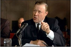 UAW President Walter Reuther testifies February 20, 1967 before a Joint Committee of Congress. He advocates employee stock ownership as a way for workers to gain their income increases out of the bottom line without raising costs to business.