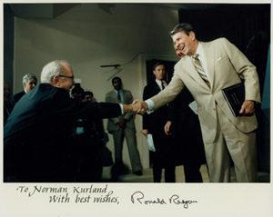 Sen. Long with Pres. Reagan at Project Economic Justice